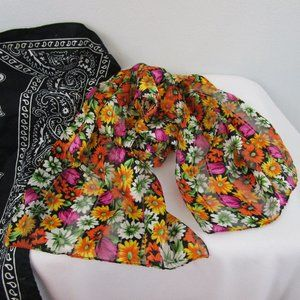 Vintage Silk Floral Print Long Sheer Scarf